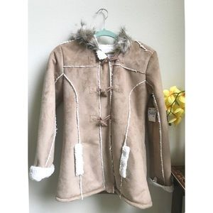 Justice Faux Suede Sherpa Jacket NWT